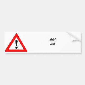 Attention Triangle Symbol Bumper Sticker