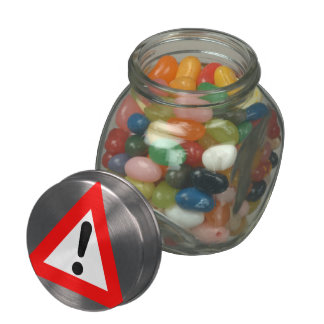 Attention Triangle Symbol Jelly Belly Candy Jar
