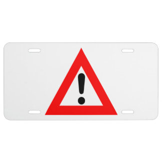Attention Triangle Symbol License Plate