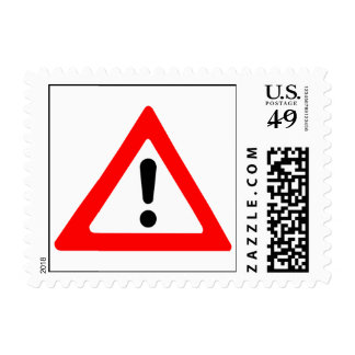 Attention Triangle Symbol Postage Stamp
