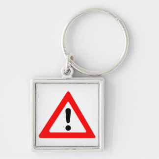 Attention Triangle Symbol Silver-Colored Square Keychain