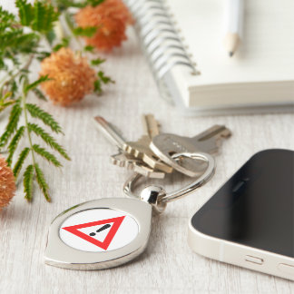 Attention Triangle Symbol Silver-Colored Swirl Metal Keychain