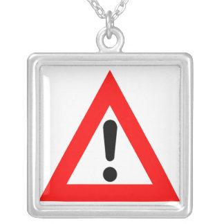 Attention Triangle Symbol Square Pendant Necklace