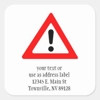 Attention Triangle Symbol Square Sticker