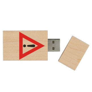 Attention Triangle Symbol Wood USB Flash Drive