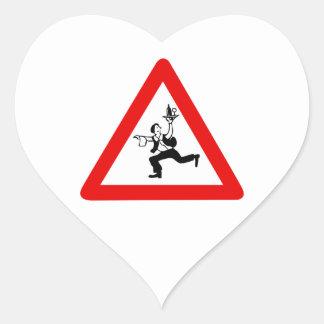 Attention Waiters Sign, Austria Heart Sticker