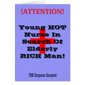 !ATTENTION!, +, Young HOT Nurse In Search Of El... Card