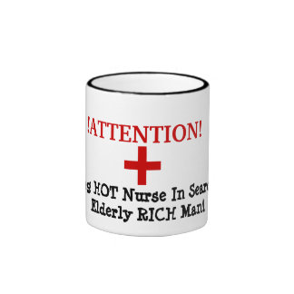 !ATTENTION!, +, Young HOT Nurse In Search Of El... Ringer Coffee Mug