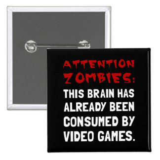 Attention Zombies Video Games 2 Inch Square Button