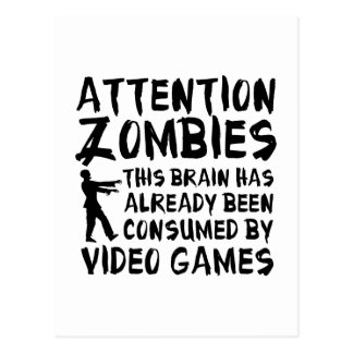 Attention Zombies Video Games Postcard