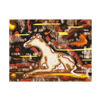 Attentive Whippet- Wrapped canvass Canvas Print