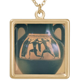 Attic black figure amphora depicting Theseus and t Gold Plated Necklace