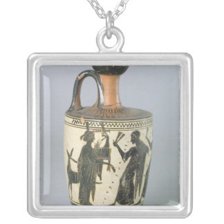 Attic black-figure lekythos silver plated necklace