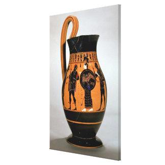Attic black-figure olpe depicting Athena Confronti Stretched Canvas Print