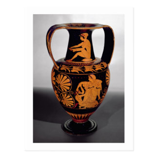 Attic red-figure amphora depicting a satyr struggl postcard