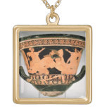 Attic red-figure calyx-krater depicting Herakles W Square Pendant Necklace