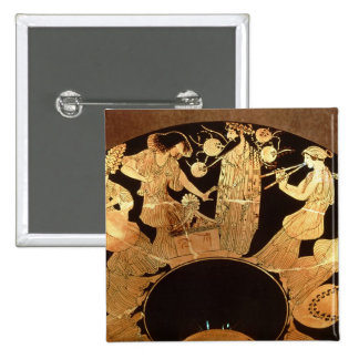 Attic red figure kylix depicting Dionysus and the 2 Inch Square Button