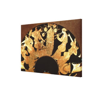 Attic red figure kylix depicting Dionysus and the Canvas Print