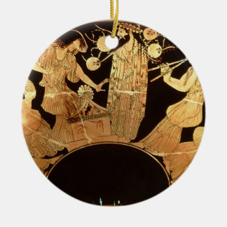 Attic red figure kylix depicting Dionysus and the Ceramic Ornament