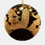 Attic red figure kylix depicting Dionysus and the Double-Sided Ceramic Round Christmas Ornament