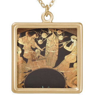 Attic red figure kylix depicting Dionysus and the Square Pendant Necklace