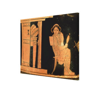 Attic red figure pyxis depicting a bride 5th cent stretched canvas print