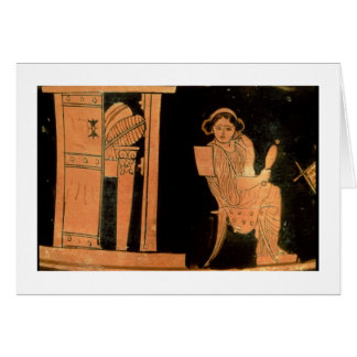 Attic red figure pyxis depicting a bride, 5th cent card