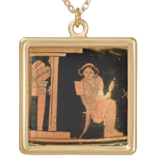 Attic red figure pyxis depicting a bride, 5th cent gold plated necklace