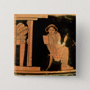 Attic red figure pyxis depicting a bride, 5th cent pinback button