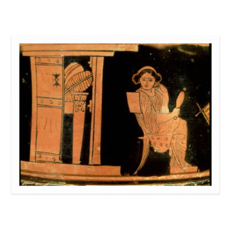 Attic red figure pyxis depicting a bride, 5th cent postcard