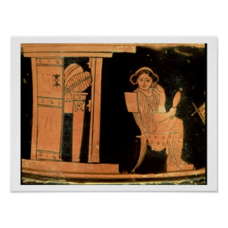 Attic red figure pyxis depicting a bride 5th cent poster