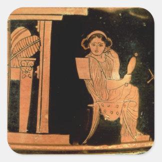Attic red figure pyxis depicting a bride, 5th cent square sticker