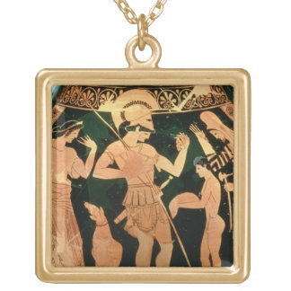 Attic Red figure vase depicting a soldier taking p Gold Plated Necklace