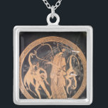 """Attic red-figure vase silver plated necklace<br><div class=""""desc"""">Attic red-figure vase depicting Dionysus playing a lyre,  5th century BC located at a Private Collection. The Attic red-figure vase depicting Dionysus playing a lyre,  5th century BC was created around the 5th century.</div>"""