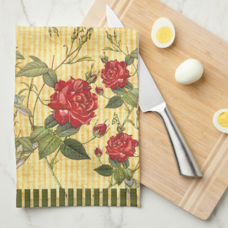 Attic Treasures - Red Roses on Yellow Stripes Towels