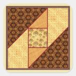 Attic Window in Rust & Gold Square Sticker