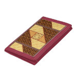 Attic Window Quilt Block in Rust & Gold Trifold Wallet