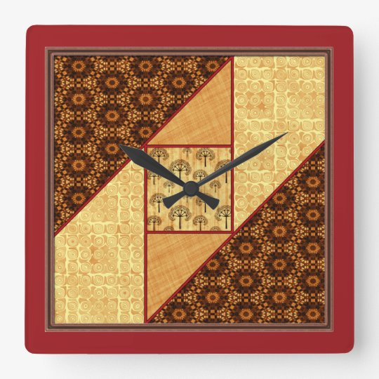 Attic Window Quilt Block Rust & Gold no numbers Square Wall Clock