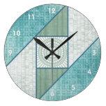 Attic Window Quilt Pattern Mint Green & Blue Wallclock