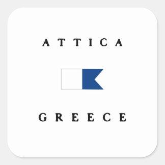 Attica Greece Alpha Dive Flag Square Sticker