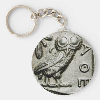Attica Tetradrachm Owlthena Basic Round Button Keychain