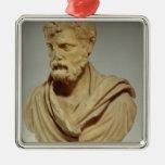 Atticus de Herodes, cabeza de mármol, romana, Adorno Cuadrado Plateado