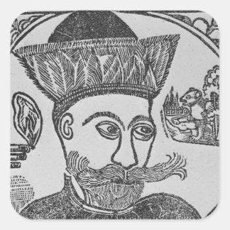 Attila el Hun Colcomanias Cuadradas Personalizadas