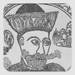 Attila el Hun Pegatina Cuadrada