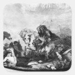 Attila el Hun y sus hordas Calcomania Cuadrada Personalizada