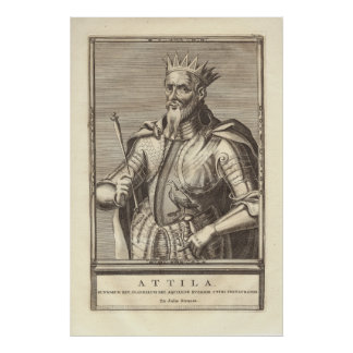 Attila The Hun, Scourge of God, from Antique Print