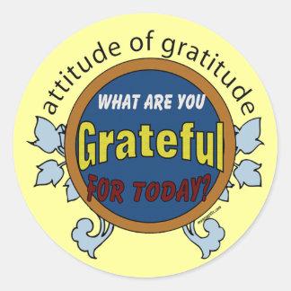 Attitidue de la gratitud pegatina redonda