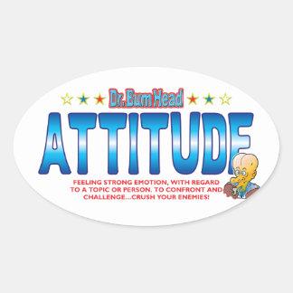 Attitude Bum Head Oval Sticker