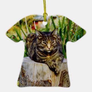 Attitude Cat Double-Sided T-Shirt Ceramic Christmas Ornament
