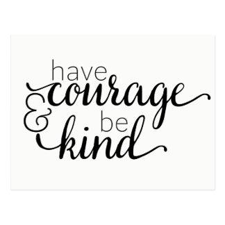 Attitude Courage Life Motivational Typography Postcard
